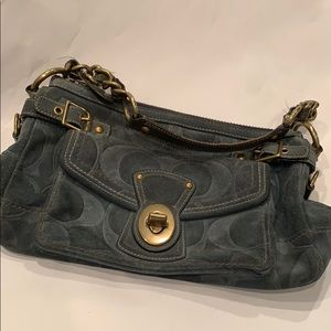 COACH BLUE SUEDE LEATHER SHOULDER BAG
